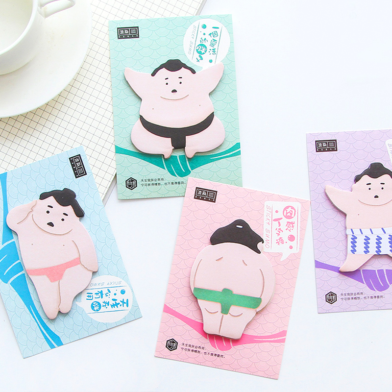 4 pcs/Lot Sumo sticky note Japanese man memo pad Funny sticker diary book Stationery Office planner School supplies DM644