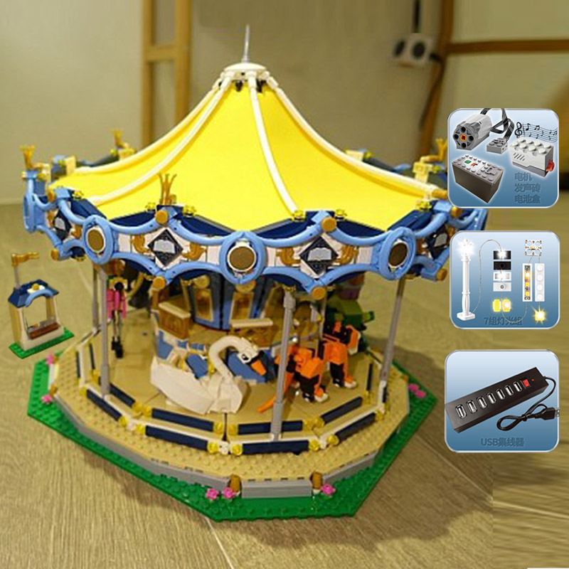 Lighting Lepin 15036B 2755Pcs Genuine Street Series 15036 2705 Pcs The New Carousel Set Building Blocks Bricks Toys Model 10257
