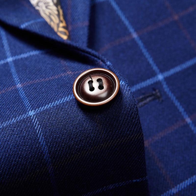 (jacket+vest+pants) High Quality Men Suits Fashion Grid Stripe Men's Slim Fit Business Wedding Suit Men Wedding Suit #5