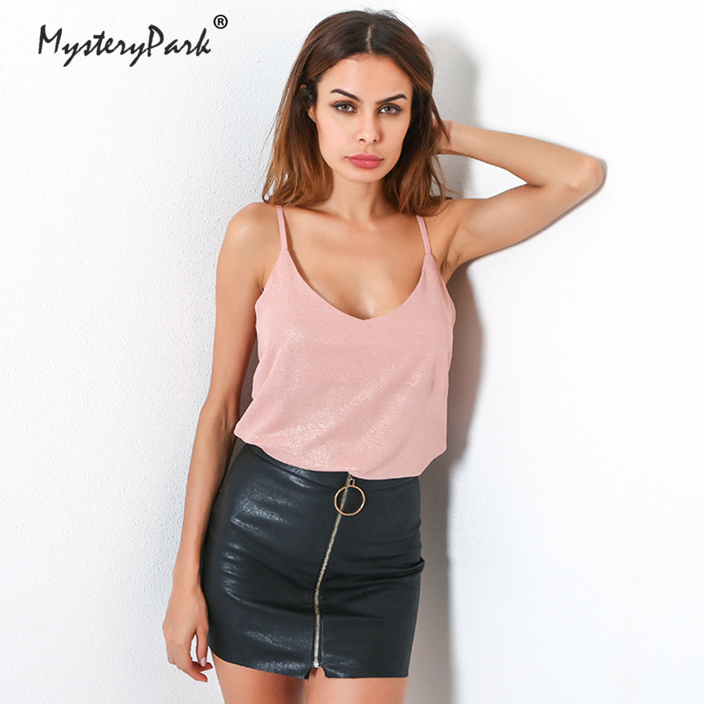 MysteryPark Pink Tank Tops Women Autumn Strap Sequined Top Sexy Female V-neck Tops 2018 Summer Ladies Camisole Cropped