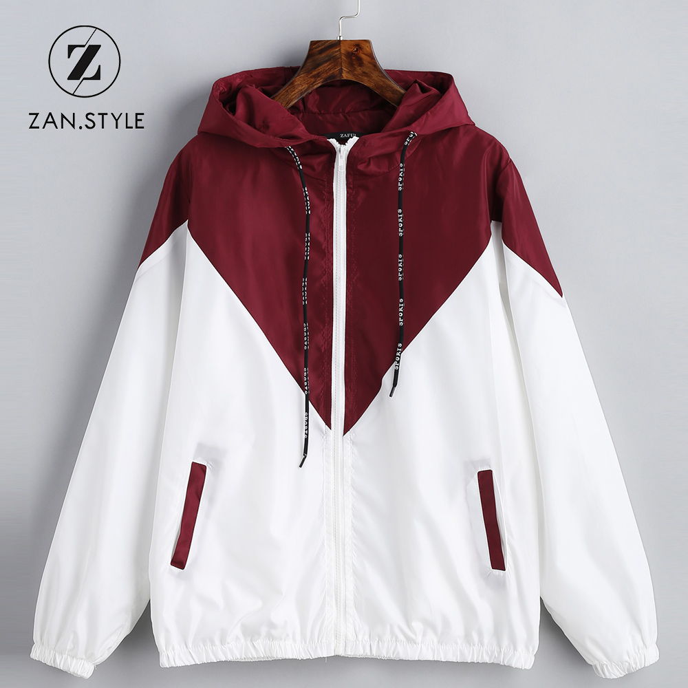 ZAN.STYLE Spring Autumn Fashion Hooded Two Tone Windbreaker Jacket Zipper Pockets Casual Long Sleeves Feminino Coats Outwear