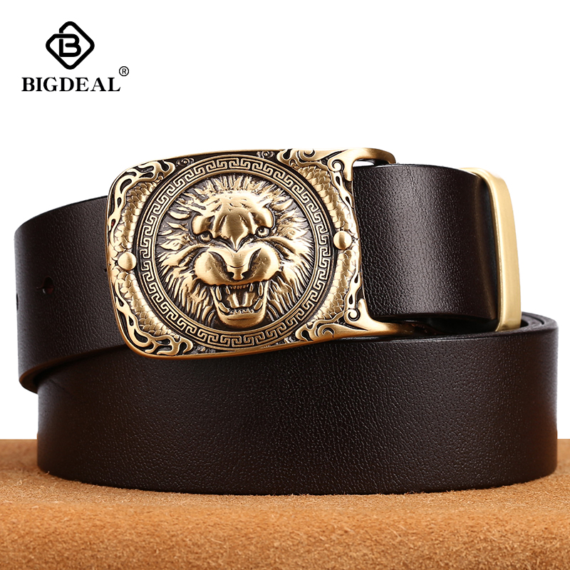 Tiger Pattern Cow Leather Men Jeans Belts Vintage Pin Buckle Genuine Leather Belt For Men Male Gift For Man Husband Father