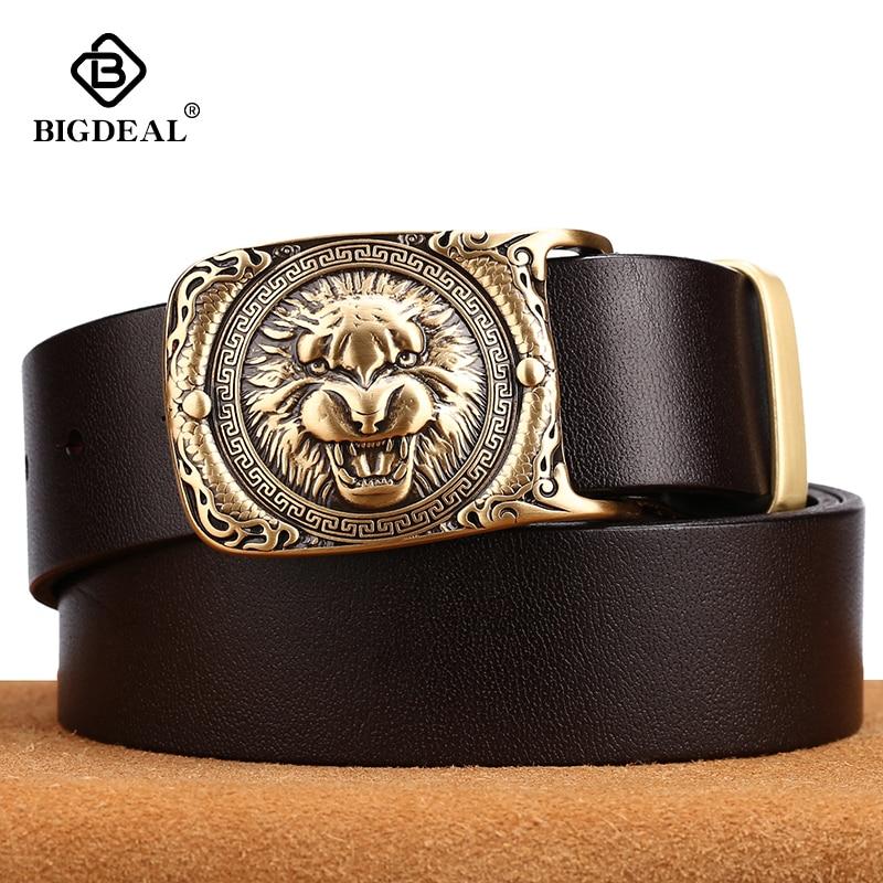 Tiger Pattern Cow Leather Men Jeans Belts Vintage Pin Buckle Genuine Leather Belt For Men Male Gift For Man Husband Father