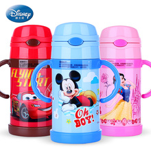 Disney Thermos Cup with handle Baby Straw Bottle for Learning drinking water Juice Cup Stainless Steel Flip lid Lovely Kettle