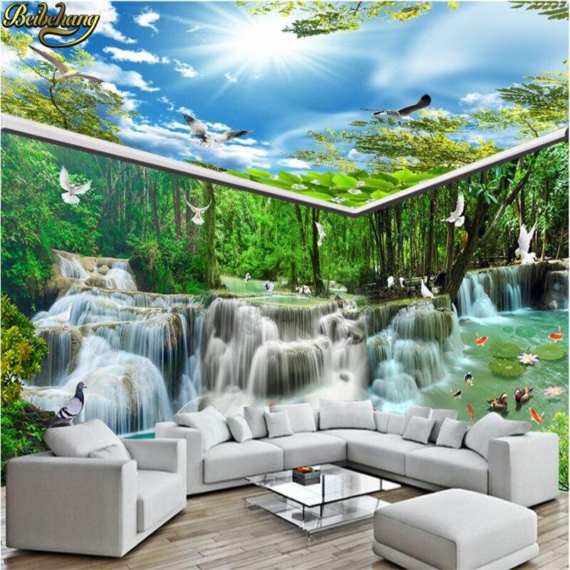 Beibehang Kustom Air Terjun Mengalir Hutan Wallpaper Dinding 3D Kertas Dinding Lukisan 3D Foto Lukisan Dinding