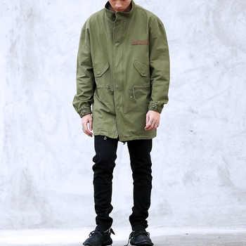 2017 nouveau chaud hommes vestes et manteaux vêtements vêtements militaire automne noir vert longue armée militaire veste coupe-vent Oversize