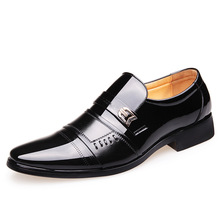 2019 New Casual Shoes Men Wedding Dress Shoes Black Shoes Round Toe Flat Business British Lace-up Men's Shoes