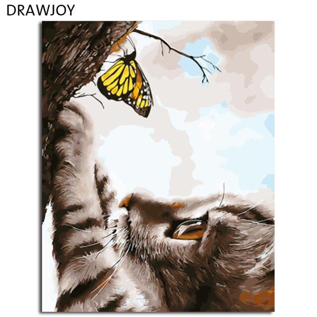 DRAWJOY חתול בעלי החיים ממוסגר ציור DIY על ידי מספרים על בד ציור וקליגרפיה קיר לעיצוב בית 40x50