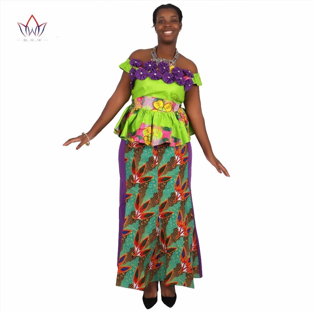 Afrički Bazin Riche haljine za žene Set Odjeća suknja Top setovi za žene Visoki struk suknja Long African suknja Plus veličina WY1422  t
