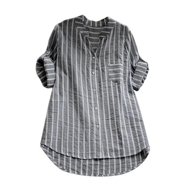 a3a2106d6b1f47 Women Female Plus Size Womens Summer Striped V Neck Blouse Baggy Tops  Ladies Tunic Blouse Female