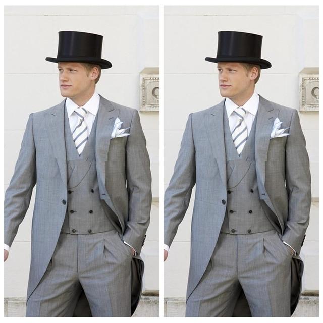 79e60a3ffd4 2019 Vintage England Grey Tail Men Groom Wedding Tuxedos Mens Formal Wear  Cheap Lapel Men Party Suit Custom (Jacket+Pants)