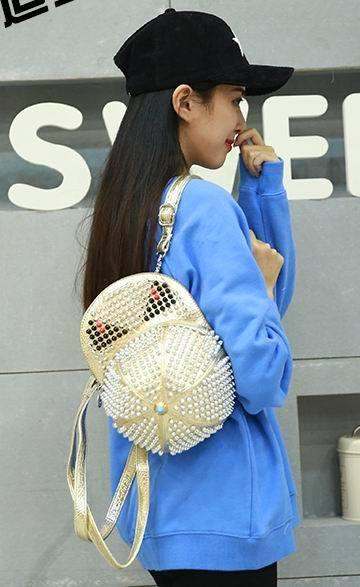 2016 Ameiliyar Designer Rivet Monster Backpacks Handmade Leather Hat Shape Bagpack Punk Style Mochila Diamond Rhinestone Bags