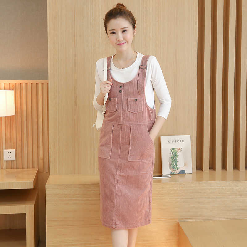 2018 New Autumn Casual Vintage Women dress Solid Straps Dresses Pink 1652 5219b3dd6c6d