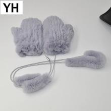New Lady Real Rex Rabbit Fur Gloves Good Elastic Women Winter Knitted Real Rabbit Fur Mittens Natural Real Rex Rabbit Fur Gloves