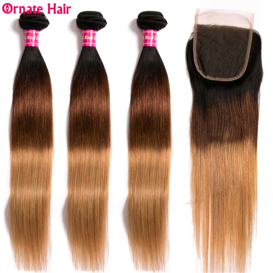 Ombre Straight Hair Bundles With Closure T1B 4 27 Malaysian Hair Bundles With Closure Non Remy