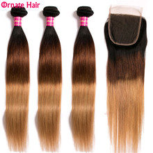 Ombre Straight Hair Bundles With Closure T1B/4/27 Malaysian Non Remy Human