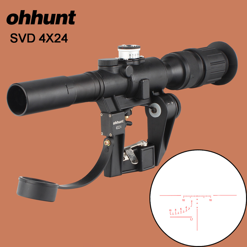 ohhunt Tactical Red Illuminated 4x24 PSO-1 Type Riflescope for Dragonov SVD Sniper Rifle Series AK Rifle Scope for Hunting