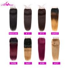 עלי קוקו שיער ברזילאי ישר תחרה סגירת 4x4 צבע טבעי/#2/#4/1b/בורדו/1B/4/27 שיער טבעי סגירת 100% רמי שיער