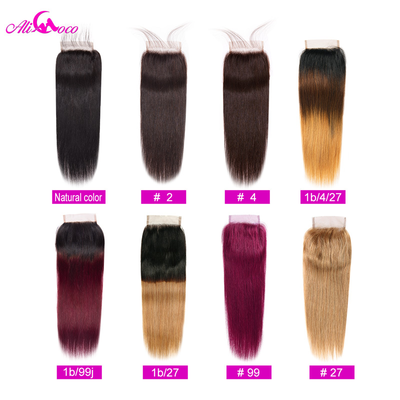 Ali Coco Hair Brazilian Straight Lace Closure  4x4 Natural Color/ #2/#4/1b/Burgundy/ 1B/4/27 Human Hair Closure 100% Remy Hair