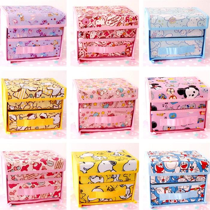 Cartoon Duffy Stellalou Hello Kitty My Melody Cinnamoroll The Little Twin Star Cute Cosmetic Bags Case Folding Storage Box Bag
