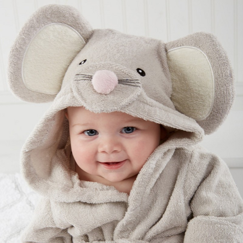 Kids Cartoon Animal Modelling the Boy Girls Mouse Bathrobe Baby High Quality Leisurewear Hooded Bath Towel