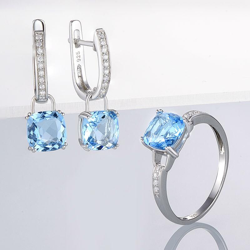 Image 5 - SANTUZZA Jewelry Set For Women Genuine 925 Sterling Silver Bridal  Shimmering Blue Crystal Earrings Ring Set  Fashion Jewelryset  finesjewelry bowjewelry plier set