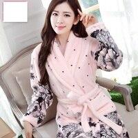 Female Bath Robe Coral Fleece Flowers Nightgowns Spa Bathrobe Robe Homewear Women Long Sleeve Kimono Peignoir