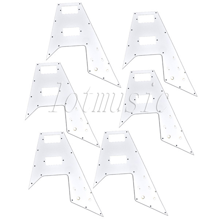 6Pcs White 3Ply PVC Pickguard for Electric Guitar Replacement musiclily 3ply pvc outline pickguard for fenderstrat st guitar custom