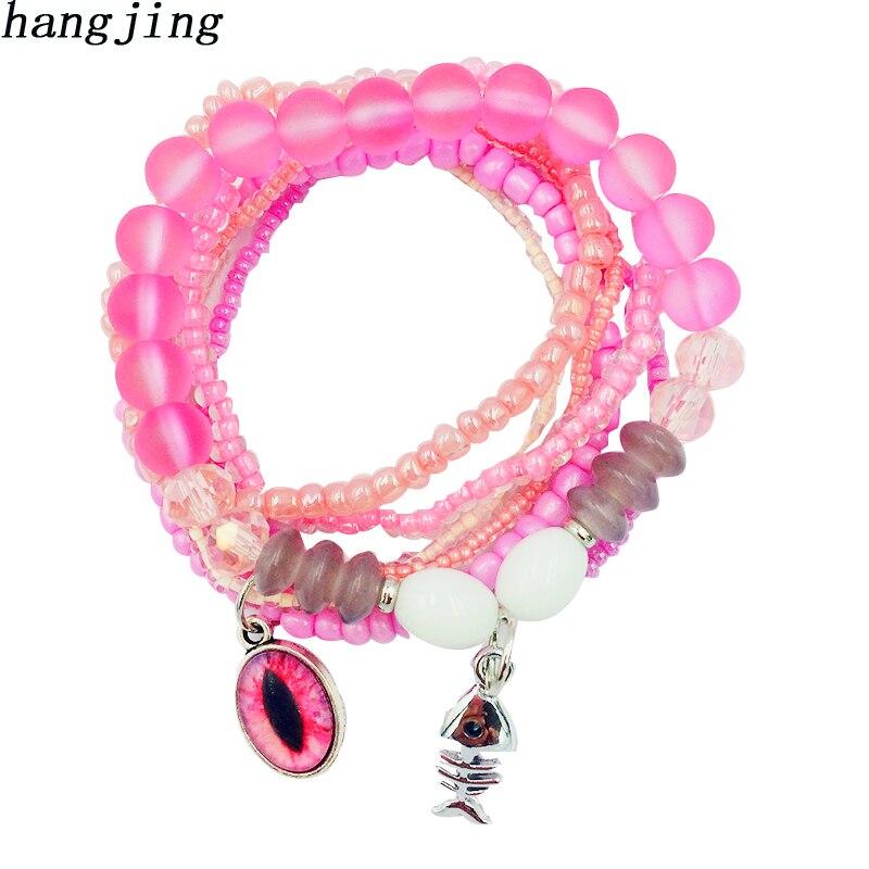 Hot 7pcs/set 6 Style 2019 Couples Eye Fish Crystal Glass Beaded friendship Bracelet for Women Friend Gift Charm Strand Jewelry