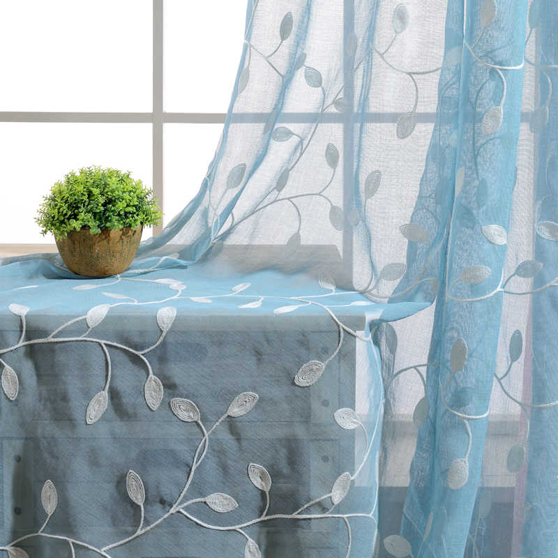 Modern White Blue Pink Green Embroidered Rattan leaf Linen Cotton Voile Sheer Curtains For Living Room WP072C