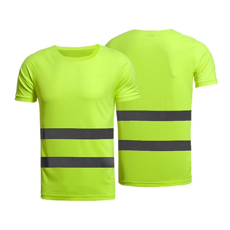 Fluorescent yellow orange high visibility safety work shirt summer breathable work t shirt reflective t-shirt mens women