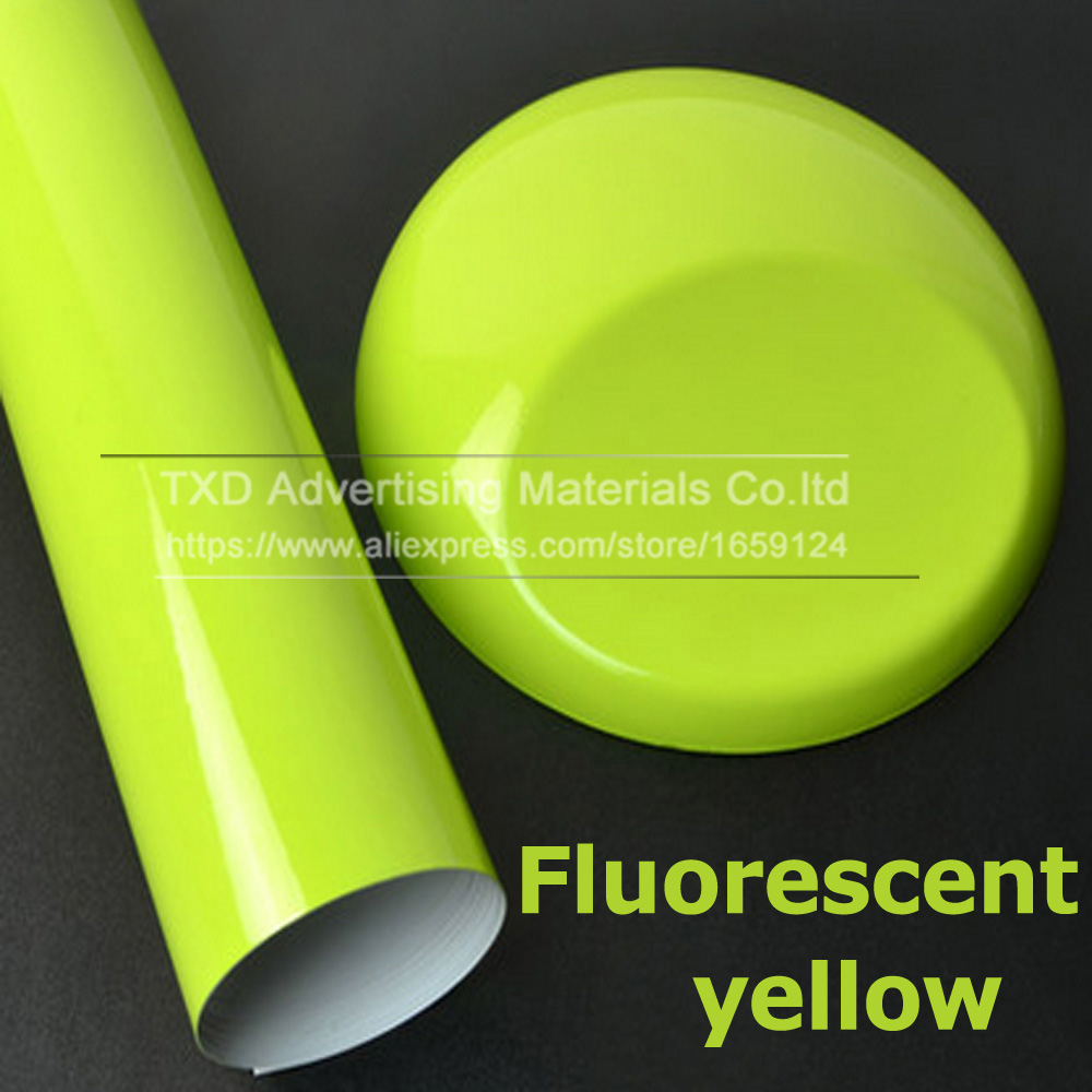 Image 3 - 10/20/30/40/50/60x152CM Fluorescent yellow glossy vinyl wrap film Glossy Vinyl sticker with air free bubbles by free shipping-in Car Stickers from Automobiles & Motorcycles