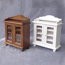 1/12 Scale Wooden Dollhouse Miniature Wine Cabinet Play Doll House Furniture Toy(China)