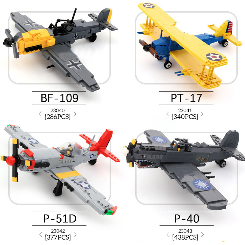 WW2 Military Plane Germany BF-190 Fighter Building Blocks P-51D Airplane Models Bricks Pilot Figures Aircraft Toy For Children fms 1100mm p 51d light fighter old crows world war ii fixed wing rc aircraft