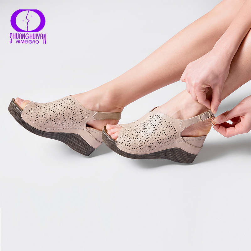 AIMEIGAO 2018 New Summer Platform Heels Sandals Women Open Toe Thick High Heels Shoes Soft Leather Comfort Sandals For Women