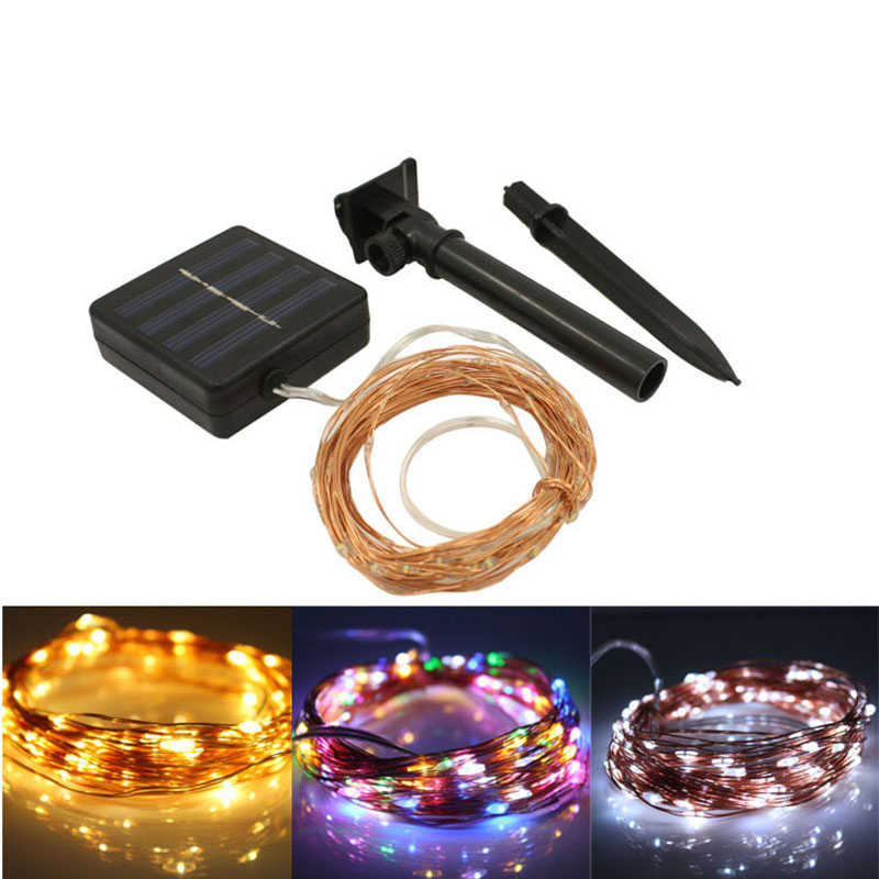 Solar Powered 10m 100 LED Copper Wire String Lights for Wedding Christmas Party Holiday Lawn Patio Indoor and Outdoor Use