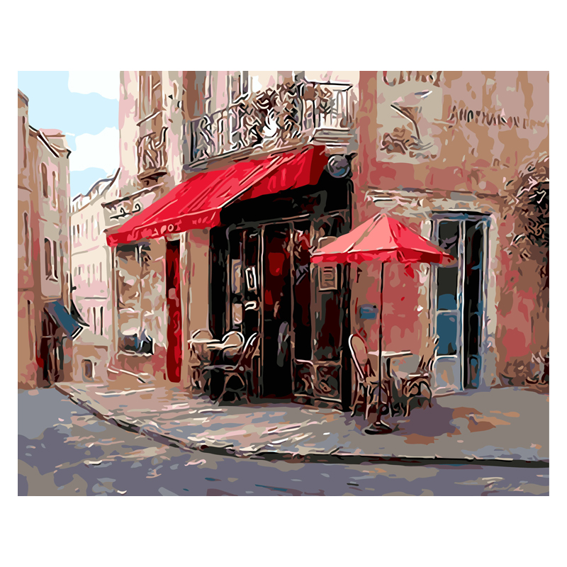 Painting Number-Kits No-Frame Street-Corner 40x50cm Home-Decor Coloring Oil For Szyh094