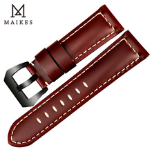 MAIKES Handmade Red Brown Watch Band Accessories High Quality Genuine Leather 22mm 24mm 26mm Watchband Wrist Watch Strap Gifts цена 2017