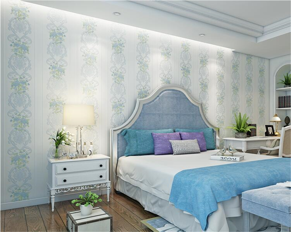 beibehang Classic Pastoral Flocking Premium Nonwovens Wall paper Living Room Bedroom Background papel de parede 3d Wallpaper beibehang papel de parede pastoral environmental nonwovens wall paper warm small floral living room bedroom background wallpaper
