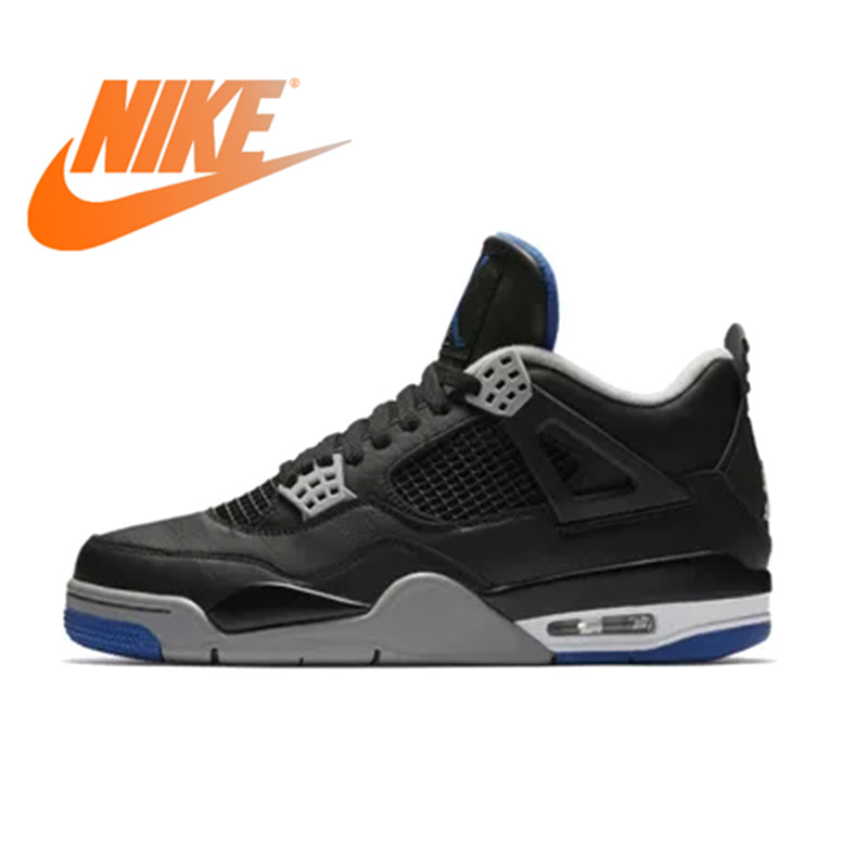 b5554aa0a918 Official Original Nike Gs Air Jordan 4 Blue Women Basketball Shoes Sneakers  Sport Outdoor Breathable Medium Cut Thread 408452