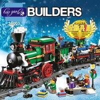 Lepin 36001 770ピースクリエイティブシリーズはクリスマス冬ホリデー列車セット子供教育ビルディングブロックレンガのおもちゃ10254
