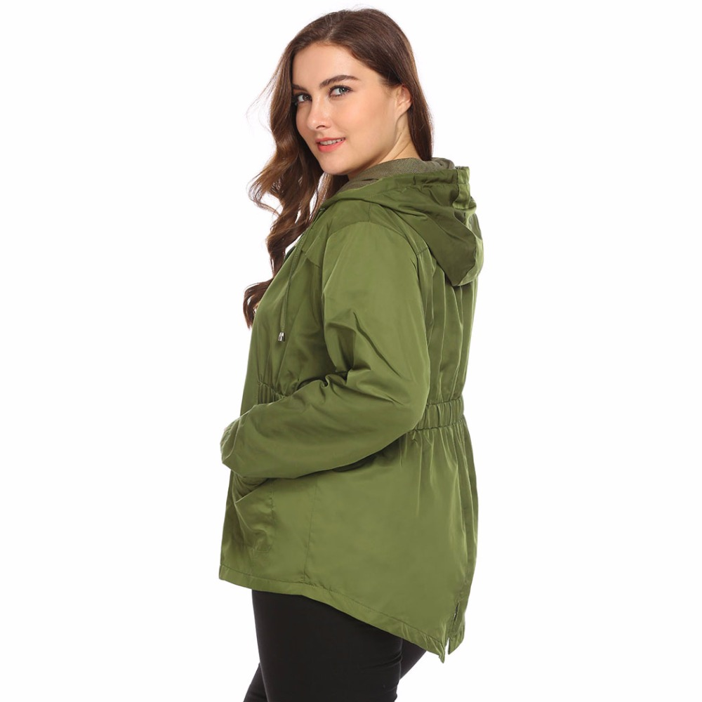 IN'VOLAND Large Size XL-4XL Women Lightweight Jacket Hooded Full Zip Raincoat Loose Solid Casual Waterproof Big Coat Plus Size 4