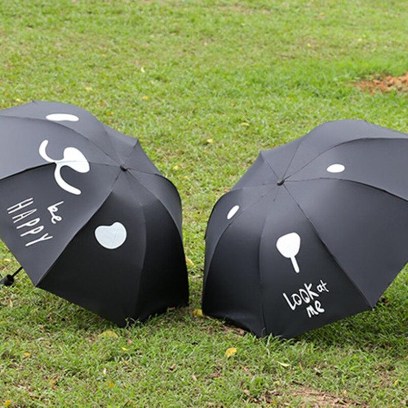 YADA Black Expression Personalized DIY Umbrella Rain Women uv High Quality Umbrella For Womens Windproof Folding Umbrellas YS098 in Umbrellas from Home Garden