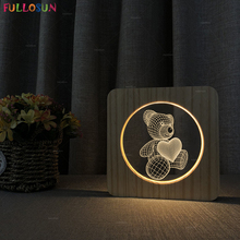 Kids Baby Bedroom Night Light Cartoon Bear LED Wooden Desk Lamp Nordic Style Warm Color Sleeping Lampara for Christmas Gift beiaidi big rabbit bear dimmable led night light cartoon bedroom desk table lamp for baby children kids birthday christmas gift