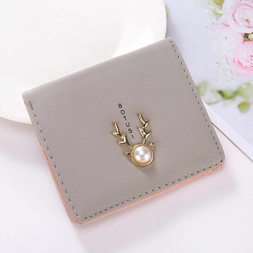 Fashion 2019 realer small wallet Fashion Women Pearl Zipper Short Wallet Coin Purse Card Holders Handbag Clutch cuzdan YL 3.08