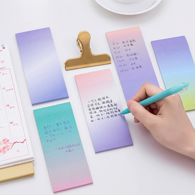 Korean Stationery, Creative Color, Long Color Gradient N Times Stickers, This Can Tear Away Message Notes Convenient