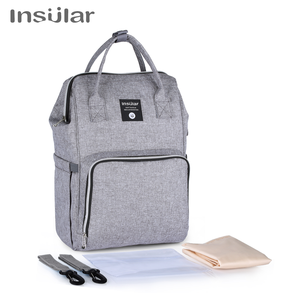 Insular Brand Nappy Backpack Bag Mummy Large Capacity Stroller Bag Mom Baby Multi-function Waterproof Outdoor Travel Diaper Bags 1