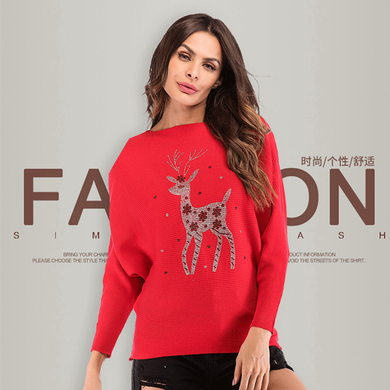 Casual Women Sweater Christmas Elk Deer Red White Color Top Pullover
