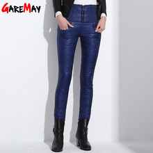 GareMay Winter High Waisted Outer Women female Slim Warm Thick Duck Down Pants skinny