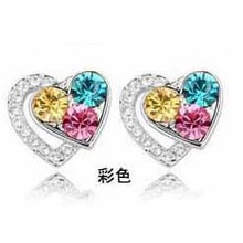 A30 Fashion fashion accessories 2012 Women heart crystal earring Factory Wholesale